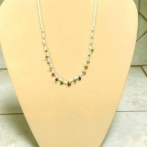 Tourmaline, pearl, 14Kt. gold necklace